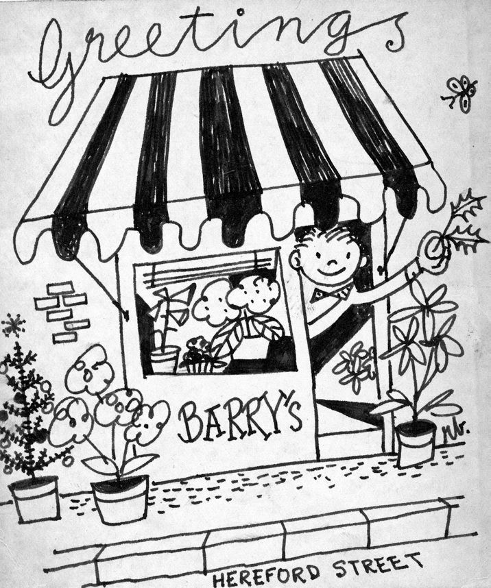 First Christmas card, Barry's Flower Shop opens for business.