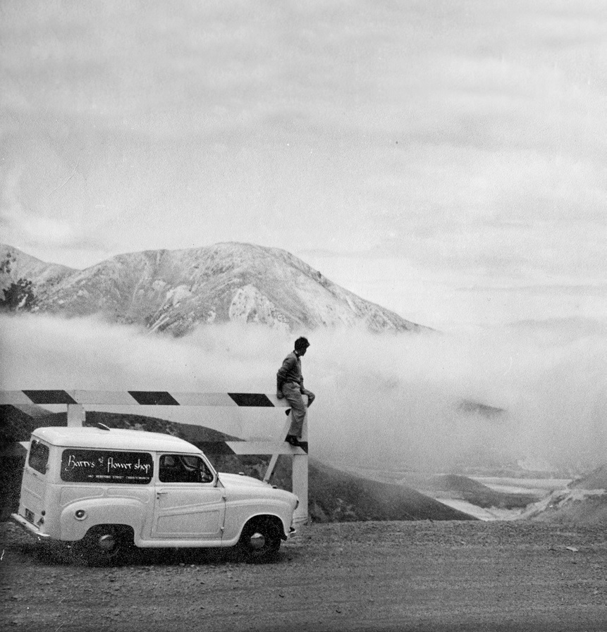 My first vehicle, a sturdy, go-anywhere Austin 40 van, at Porters Pass, 1956.  ©Colin Christie